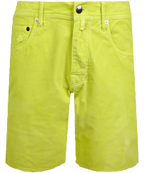 Men Others Solid - Men Velvet Bermuda Shorts 5 Pockets, Lemongrass front