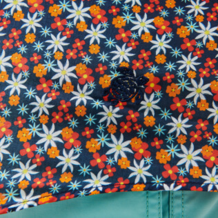 Others Printed - Unisex Cotton Voile Summer Shirt 1977 Spring Flowers, Navy supp1