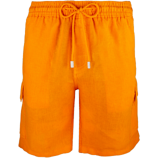 Men Shorts Solid - Solid Cargo linen bermuda shorts, Kumquat front