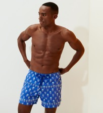 Men 017 Embroidered - Men Embroidered Swimwear Istanbul - Limited Edition, Sea blue frontworn