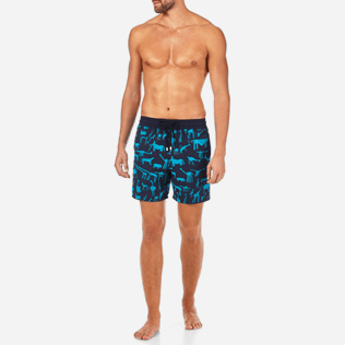 Men Classic / Moorea Printed - Primitive Art Flocked Swim shorts, Navy frontworn