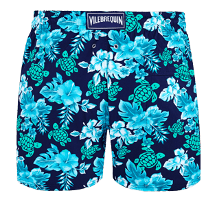 Men Stretch classic Printed - Men Swim Trunks Stretch Turtles Flowers, Navy back