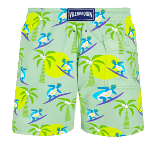Men Classic Printed - Men Swim Trunks Surfing Turtles, Aloe back