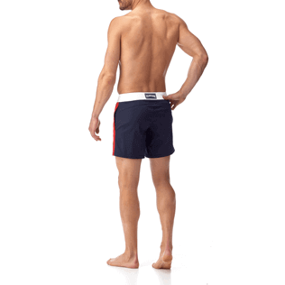Men Fitted Solid - Men Fitted Stretch Swimwear Tricolor, Navy backworn