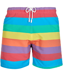 Men 112 Graphic - Men Swim Trunks Vintage 1974 Multicolore Stripes, Multicolor front