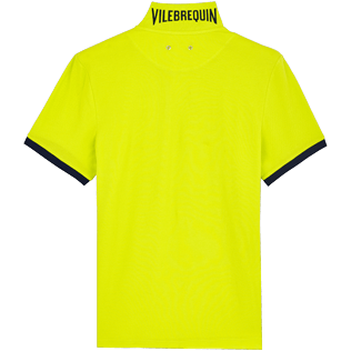 Men Others Solid - Men Cotton Polo Shirt Solid, Chartreuse back