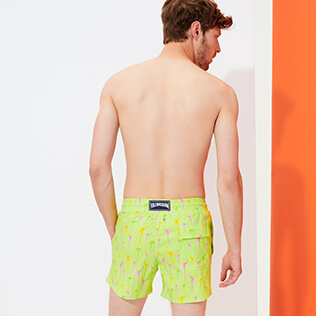 Hombre Corte Largo Estampado - Men Swimwear Stretch Giaco Elephant, Coriander backworn