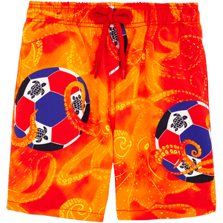 Boys Others Printed - Boys Swimtrunks Octo Soccer, Poppy red front