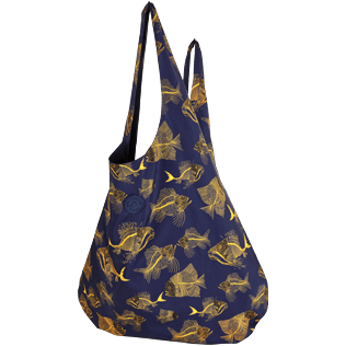 Bags Printed - Oversize Packable Bag Prehistoric Fish, Navy frontworn