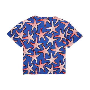 Boys Others Printed - Boys Cotton T-shirt Starfish Art, Neptune blue back