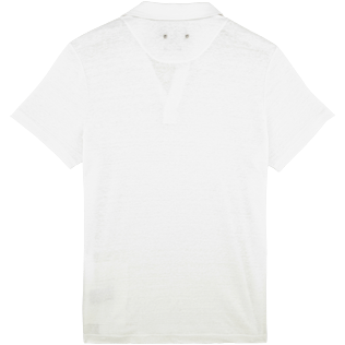 Men Others Solid - Solid Linen jersey polo, White back