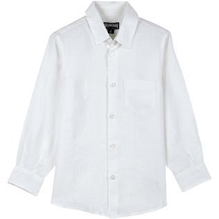 Boys Others Solid - Linen Boys Shirt Solid, White front