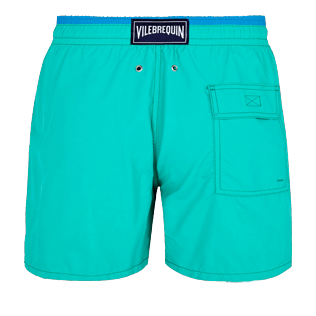 Men Classic Solid - Men Swimwear Solid Bicolor, Veronese green back
