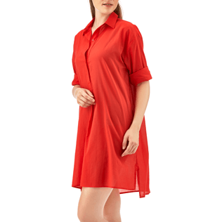 Women Dresses Solid - Solid dress shirt, Poppy red frontworn