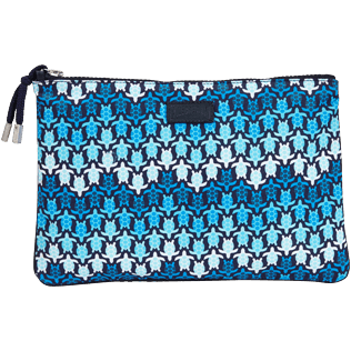 Others Printed - Zipped Beach Pouch Herringbones Turtles, Navy front