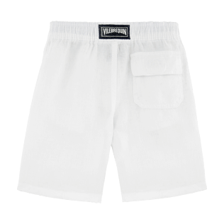 Boys Others Solid - Boys Linen Bermuda Shorts Solid, White back