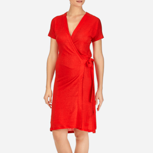 Women Dresses Solid - Solid Linen Wrap-Around Dress, Poppy red supp1