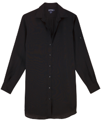 Women Others Solid - Women Long Linen Shirt Solid, Black front