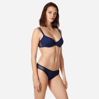 Women Underwire Solid - Women bikini Top with underwires Solid Net, Navy frontworn