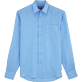 Men Shirts Solid - Classic Linen Shirt, Sky blue front