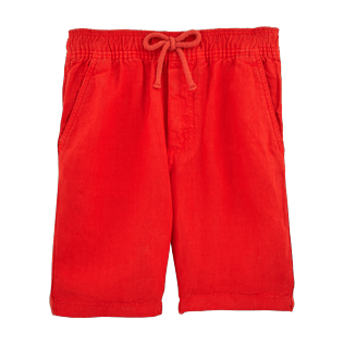 Boys Shorts Solid - Boys Linen Bermuda Shorts Solid, Poppy red front