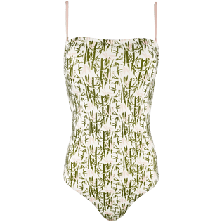 Women One Piece Printed - Women Bustier One Piece Swimsuit Bamboo Song, Peony front