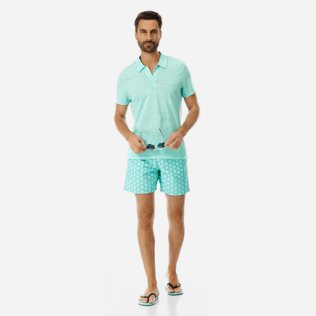 Men Others Solid - Men Linen Jersey Polo Shirt Solid, Mint supp2