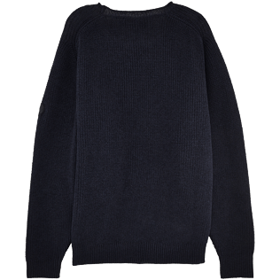 Homme Pulls Uni - Pull Over Coton Lin, Bleu jean back