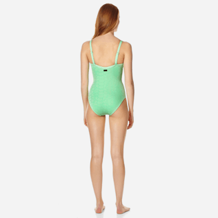 Women One piece Solid - Women triangle one piece swimsuit Ecailles de tortues, Aloe backworn