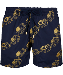 Men Classic Embroidered - Men Swim Trunks Embroidered Elephant Dance - Limited Edition, Navy front
