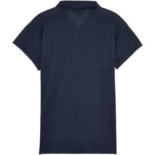 Women Polos Solid - Solid Linen Jersey Polo, Navy back