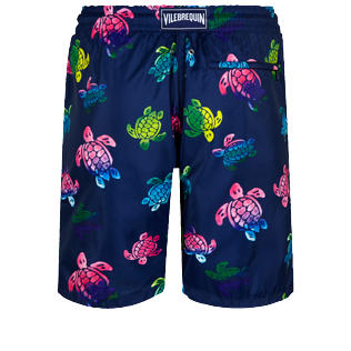 Hombre Clásico largon Estampado - Men Swimwear Long Ultra-light and packable Ronde des Tortues Aquarelle, Azul marino back