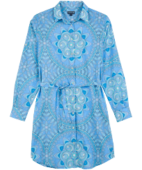 Women Others Printed - Women Cotton Shirt Dress Mandala, Lagoon front