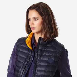 Others Solid - Unisex Sleeveless Down Jacket Solid, Navy supp5