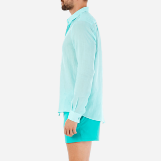 Others Solid - Unisex Linen Voile Shirt Solid, Lagoon supp3