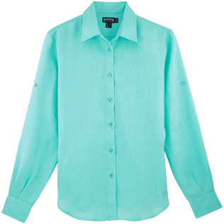 Women Others Solid - Women long sleeves Linen Shirt Solid, Lagoon front