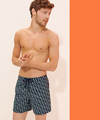 Men Classic Embroidered - Men Swimwear Embroidered Nataraja - Limited Edition, Sapphire frontworn