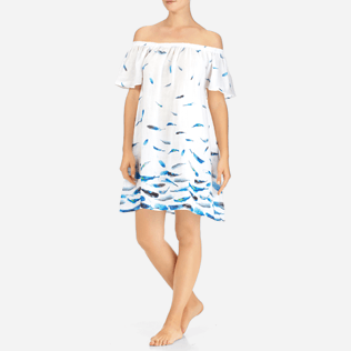 Women Others Printed - Blue Breath Shoulder Game Dress, White frontworn