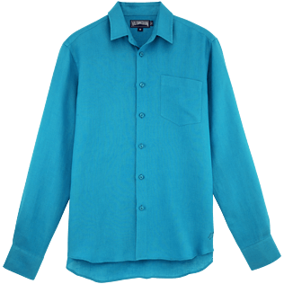 Men Others Solid - Men Linen Shirt Solid, Prussian blue front