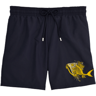 Men Embroidered Embroidered - Prehistoric Fish Placed Embroidery Swim shorts, Navy front