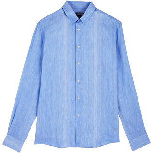 Others Graphic - Unisex linen cotton Shirt Multi Rayures, Sky blue front