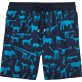 Men Classic / Moorea Printed - Primitive Art Flocked Swim shorts, Navy front