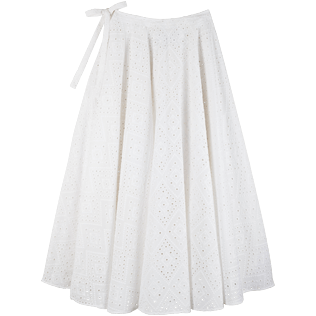 Women 014 Embroidered - Women Long Cotton Pareo Skirt Eyelet Embroidery, White front