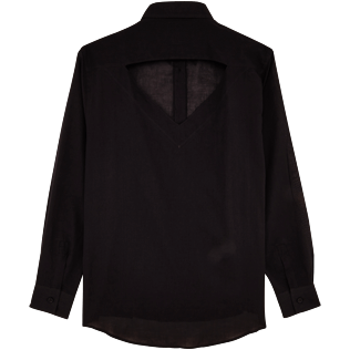 Women Shirts Solid - Women Halter Cotton Voile Shirt Solid, Black back