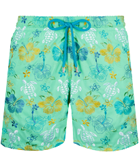 Men Classic Embroidered - Men Swim Trunks Embroidered Tropical turtles - Limited Edition, Cardamom front