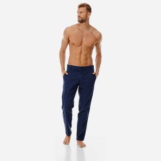 Men Others Solid - Men Twill Stretch Cotton Pants Massimo Vitali, Navy frontworn