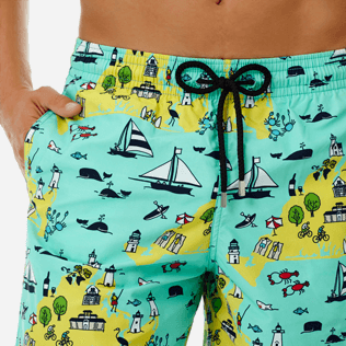 Men Long classic Printed - Men Long Swimwear Martha's Vineyard, Mint supp1