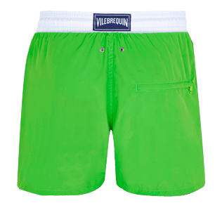 Men Ultra-light classique Solid - Men Swim Trunks Ultra-Light and Packable Solid Bicolore Fluo, Neon green back