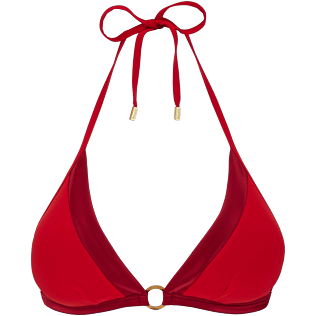 Donna Foulard Unita - Top bikini donna all'americana Tuxedo, Red polish front
