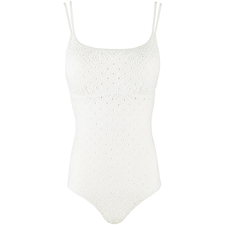 Women One Piece Embroidered - Women Round neckline One Piece Swimsuit Eyelet Embroidery, White front